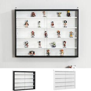 5-Tier Wall Display Shelf Unit Cabinet w/ Adjustable Shelves Glass Doors