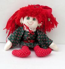 """Holiday Christmas Elf Pixie Cloth Stuffed 16"""" Doll With Red Hair Green Eyes"""