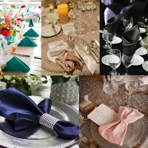 10 packs 20 Inches Square Shiny Satin Napkins,Cloth Dinner Table Silk Napkins