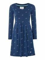 New Brakeburn Womens Navy Blue Bicycle Print Jersey Pocket Tunic  Dress 8 10