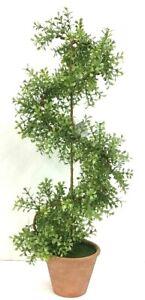 "PVC Boxwood Greenery Arrangement~Terra Cotta Pot~Green, Lt. Green~25"" T"