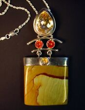 Sterling Silver, Imperial Jasper, Citrine, and Cubic Zirconia Pendant