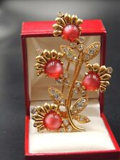 GORGEOUS ANTIQUE FUR CLIP STUNNING GOLD & CRANBERRY RED GLASS FLOWERS BERRIES