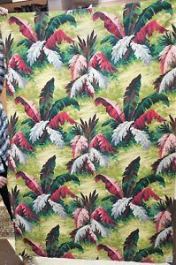 "68"" x 47"" TROPICAL HAWAIIAN BANANA LEAF BARKCLOTH Drapery / Curtain MID CENTURY"