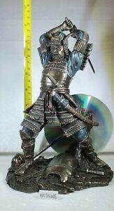 Bronze Effect Samurai Figure / Statue  with sword overhead by Veronese NEW