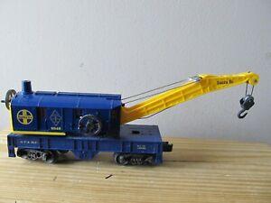 LIONEL 6-9348 SANTA FE BLUE YELLOW CRANE CAR O GAUGE ATSF FARR WITH ORIGINAL BOX