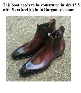 Custom Handmade Men's  leather burgundy Leather Chelsea boots