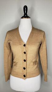 J Crew Cardigan Sweater Womens Small Beige Tan Merino Wool Knit Casual Top Shirt