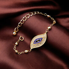Hamsa Crystal Eye Good Luck Friendship Karma Lucky Fatima Gold Tone Bracelet