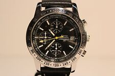 "RETRO LARGE ALL STEEL MEN'S QUARTZ CHRONOGRAPH WATCH""ENNIO SANTINI""/BLACK DIAL"
