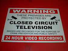 Premises Protected CCTV 24 Hour Video Recording A4 Pre-Drilled Plastic Sign R/B