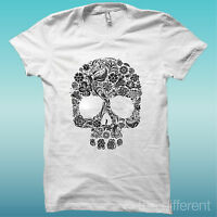 """T-SHIRT """" SKULL FLOWERS TESCHIO """" BIANCO THE HAPPINESS IS HAVE MY T-SHIRT NEW"""