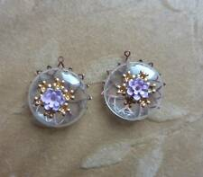 6 Vintage GLASS,HOLLOW bead sets, Japan 40's. pendant,enamel