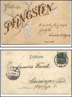 1900 Fröhliche PFINGSTEN Silber Prägekarte Stempel Berlin n. Meiningen Thüringen