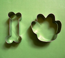 Dog Bone and Dog paw baking biscuit metal stainless steel cookie cutter mold set