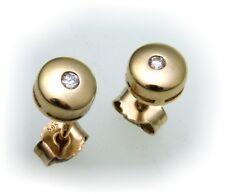 Mujer Pendientes de Botón Oro 585 BRILLANTE 0,05ct 14 Quilates Amarillo Diamante