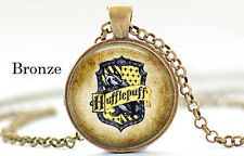 House of Hufflepuff Harry Potter Blue Hufflepuff  Bronze Chain Pendant Necklace