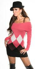 Damen-Pullover aus Viskose mit Karos/Rauten