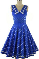 50s Style BLUE with White Polka Dots NAUTICAL SAILOR Fit-N-Flare PINUP Sun Dress