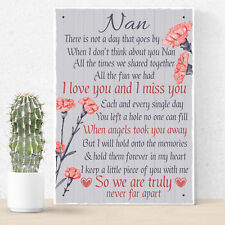 Nan Memorial Gifts Grave Plaque Tribute Hanging Sign Mum Remembrance Gifts