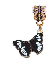 Black White Butterfly Enamel Gold Tone Dangle Charm for European Bead Bracelets