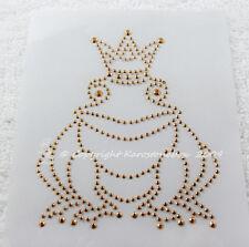 Hotfix Clavos de metal Parche para planchar dulce pequeños Rey rana Oro 130115