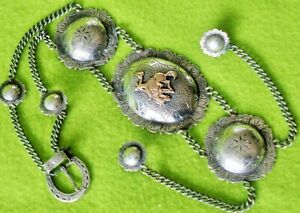 KEYSTON Bros Solid STERLING Silver GOLD Antique FACE CHAIN~Show PARADE Bridle~NR
