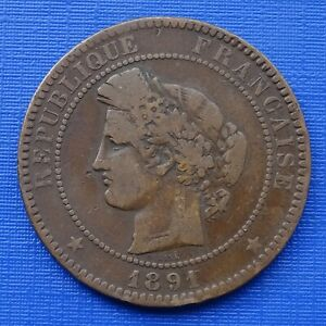 France 10 Centimes Coin~1891 (A) Ceres Bust Left, KM#815.1~Bronze 10g, VF~#480