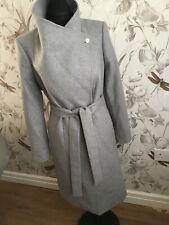 TED BAKER LORILI Grey wool cashmere belted wrap Long Coat  BNWTS Sz 4 U.K. 14