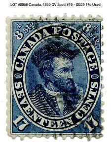 0058: Canada, 1859 QV Scott #19 - SG39 17c Used