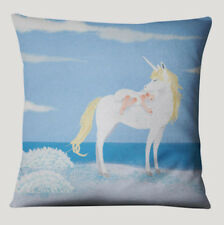 HORSE & WESTERN HOME DECOR GIFTS UNICORN & GIRL CUSHION COVER BEIGE TURQ 45cms