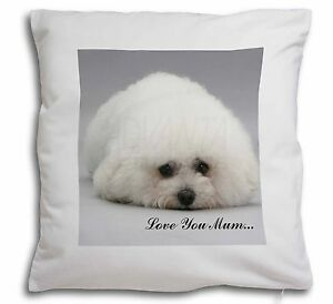 Bichon Frise Dog 'Love You Mum' Soft Velvet Feel Cushion Cover With , MUM-D2-CPW