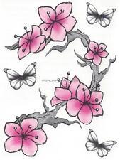 LOT 2 DESIGNER SHEET BUTTERFLY PINK cherry blossoms pink flower temporary Tattoo