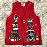 Women s/m VTG UGLY CHRISTMAS SWEATER VEST red gold zip front present bear BEADED