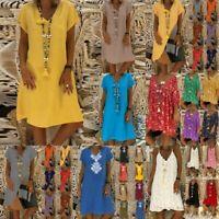 Robe Femmes Fashion Bohême Multicolore Maches Court Imprimée Col Rond or V
