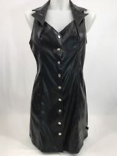 Tripp Nyc Black Faux Leather Dress Size Large Pleather Polyvinyl Skull Buttons