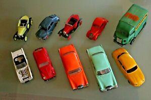 Jouet ancien plastique  NOREV LOT 10 voitures pièces/restauration Années 60 1/43
