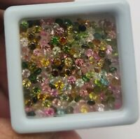Natural Tourmaline Round Diamond Cut Loose Gemstone Lot 100 Pcs 2 MM
