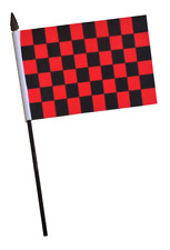 Red & Black Checkered Small Hand Waving Flag