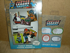 JUSTICE LEAGUE OF AMERICA. FANCY DRESS FRIDGE MAGNETS & STICKY NOTES GIFT SET.