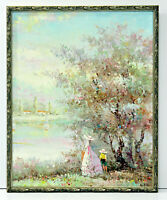 Victorian Era Country Scene 16 x 20 Oil Painting on Canvas w/ Custom Made Frame