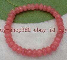 Gemstone Beads Bracelet 7.5'' Aaa Fashion Hot 5x8mm Faceted Pink Rhodochrosite