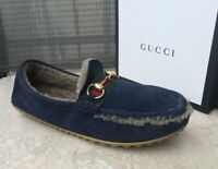 NEW GUCCI MEN's SHEARLING FUR SUEDE WEB DRIVER LOAFER Blue. Sz 8.5 US. Org.$790