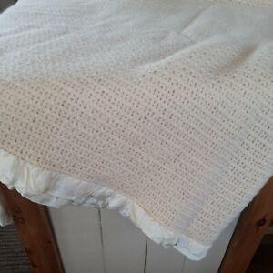Vintage Cream Wool Waffle Blanket / throw 72 x 70 Inches