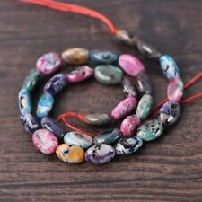 1Strand 30pcs Oblate 12x8mm Natural Agate Stone Mixed Colorful Beads