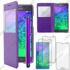 Housse Etui Fenêtre View PU Cuir Violet Samsung Galaxy Alpha + Stylet + 3 Films