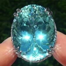 FLAWLESS Paraiba Tourmaline Diamond PLATINUM Estate Ring 62.12 TCW GIA Certified