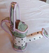 Vtg 2003 Blue Sky Heather Goldminc Watering Can Embossed Flowers Purple & Green