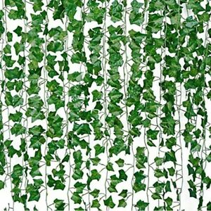 12 pieces Artificial Grape Parthenocissus Leaves Vine Outdoor Wall Hanging Garde