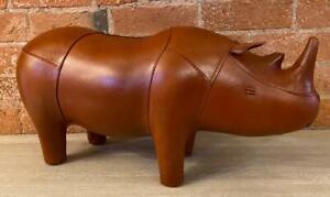 Handmade Genuine Leather Rhino Footstool / Stool - 57cm Long - Vintage Style